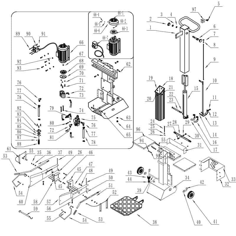 houtkliever-8S230-400-SUPER-exploded-view-onderdelen